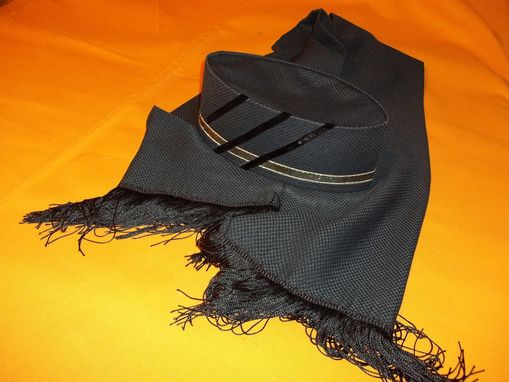 Custom Made Crown And Shawl Set Made From Pure Woven Wool In Kelly Green And Black
