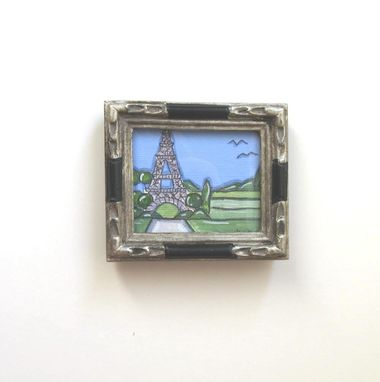 Custom Made Miniature Eiffel Tower Painting, Country French, Paris, Silver Frame, Miniature, Acrylic, Pen & Ink