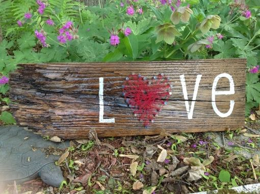 Custom Made Hope & Love Reclaimed Wood & String Art Wall Decor