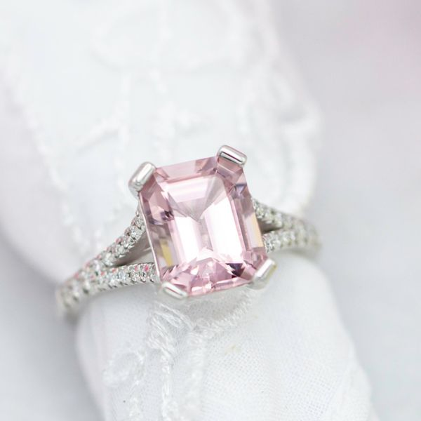 We set this emerald cut morganite with paddle-shaped prongs that perfectly fit the corners and accentuate the octagon shape of the gem.