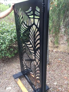 Custom Made Contemporary Metal Modern Urban Leaf Pedestrian Gate