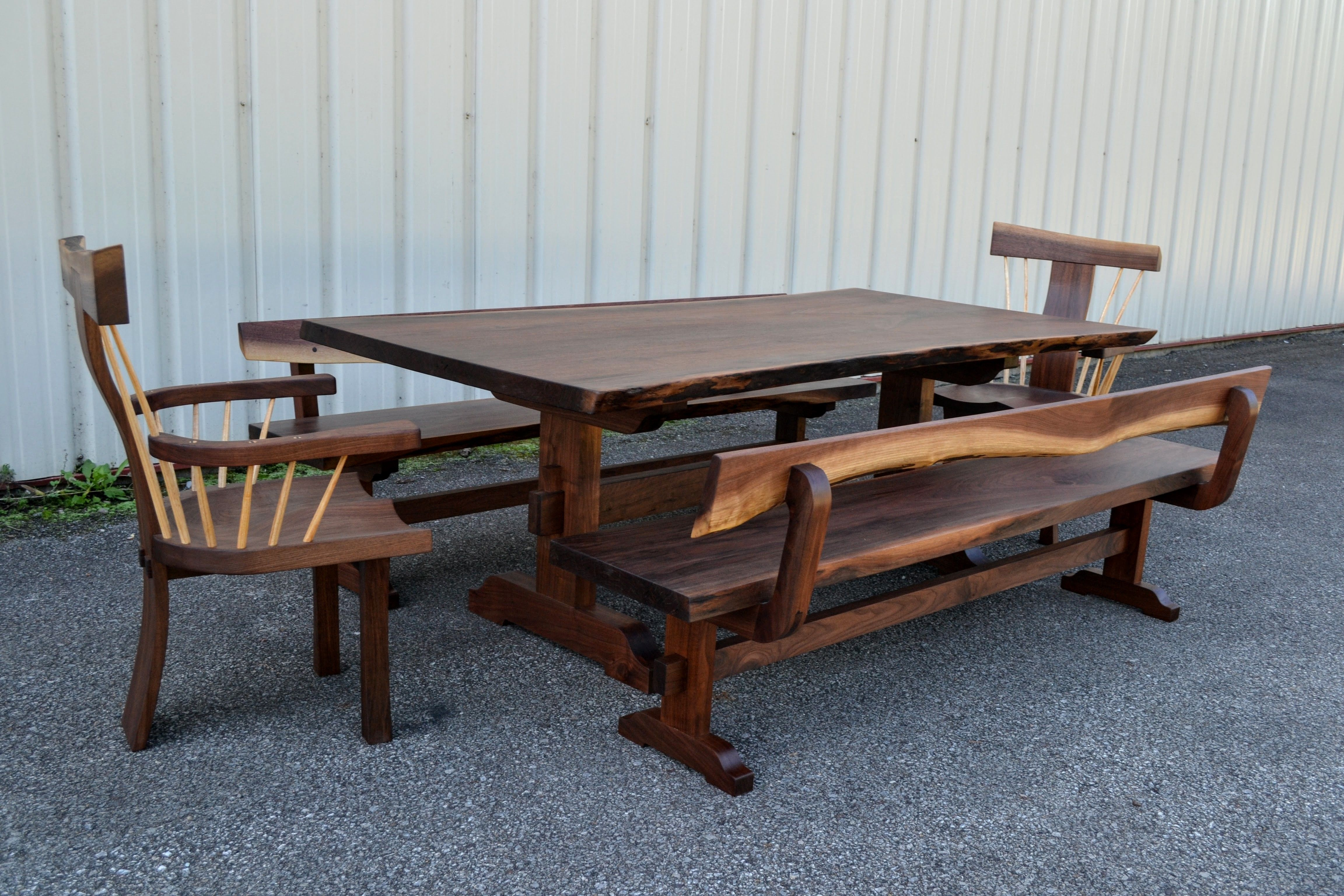 Miraculous Hand Made Live Edge Walnut Dining Set By Corey Morgan Wood Pabps2019 Chair Design Images Pabps2019Com