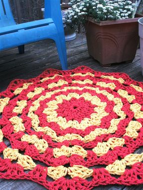 "Custom Made Red And Yellow Patio Porch Cord Crochet Rug In 39"" Circle Pattern"