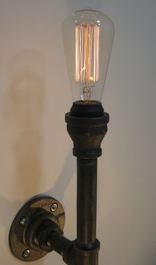 Custom Made Wall Sconce: Black Malleable Iron - Industrial Steampunk