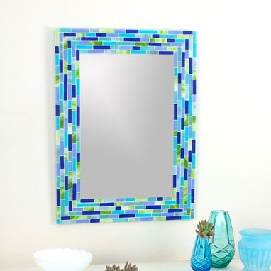 Custom Made Modern Mosaic Wall Mirror In Blue And Green Stained Glass Stripes