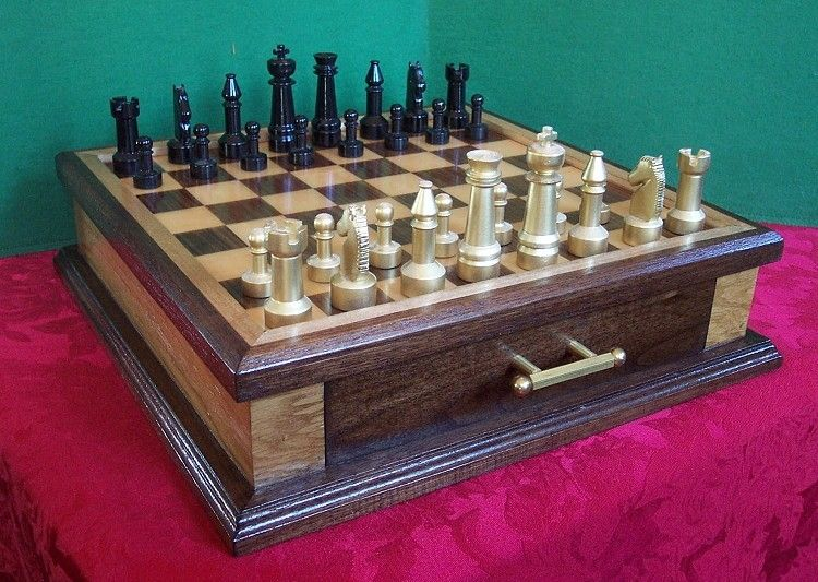 Handmade Custom Chess Set In Walnut Maple And Steel By