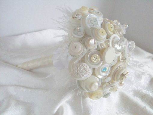 Custom Made Winter White Button Bridal Bouquet