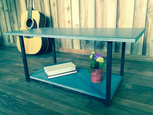 Custom Made Concrete Coffee Table Industrial Furniture Modern Home Decor Rusted Steel