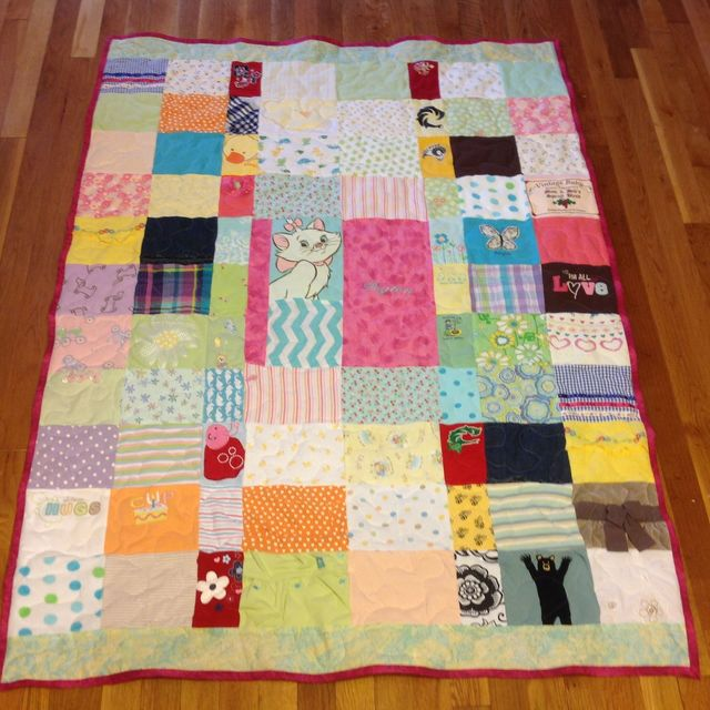 Hand Crafted Custom Embroidered Patchwork Baby Clothing Quilt by ... : personalized photo quilt - Adamdwight.com