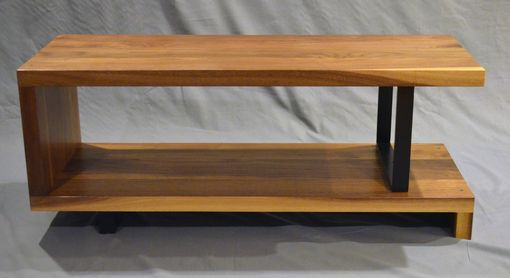 Custom Made Modern Solid Walnut And Powder Coated Steel Ribbon Coffee Table