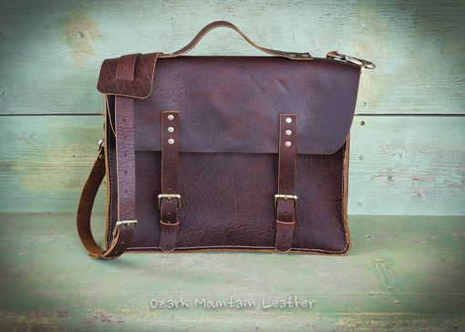 Custom Made Bison Leather Messenger Bag