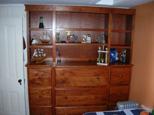 Custom Made Cherry Dresser And Shelf Unit