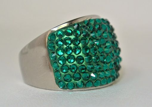 Custom Made Chic Emerald Cocktail Dome Silver Ring - Made With Swarovski Elements
