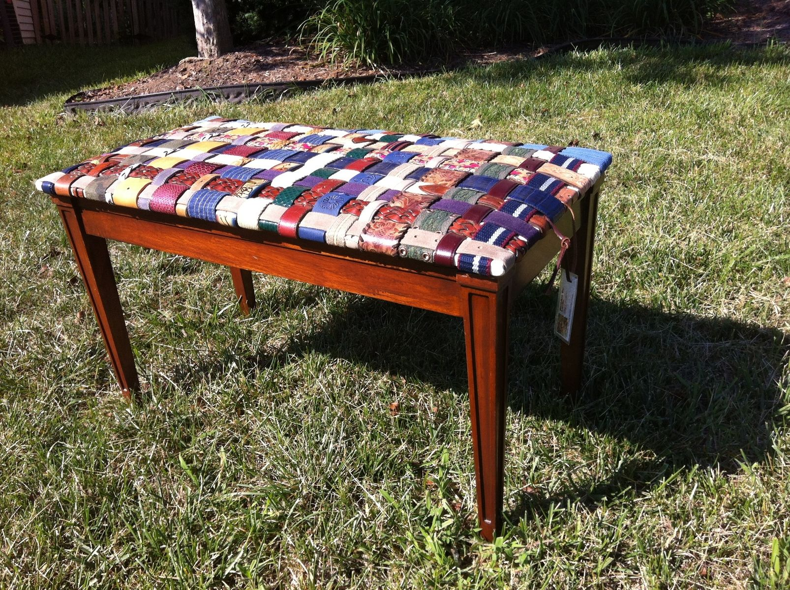 Handmade Piano Bench Covered With Woven Leather Recycled Belts by