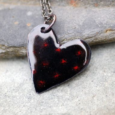 Custom Made Enamel Heart Pendant Necklace Copper Enameled Jewelry Black Red Spotted