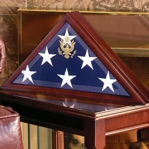 Custom Made American Burial Flag Box, Large Coffin Flag Display Case
