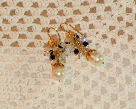 Custom Made White Baroque Pearl Earrings With Swarovski Crystal Gem Cluster On Vermeil Floral Earwires