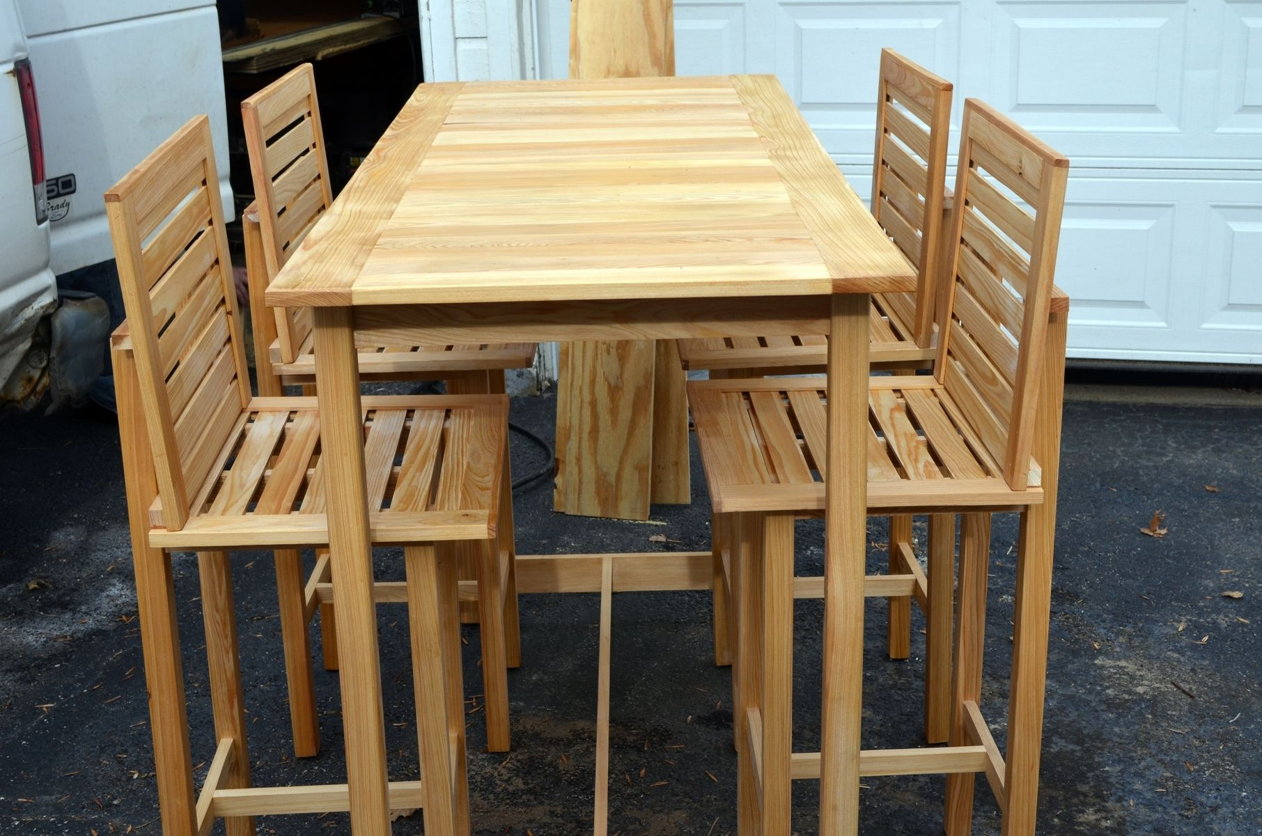 Custom made bar height table and 4 chairs made for outdoor for Outside table and chairs
