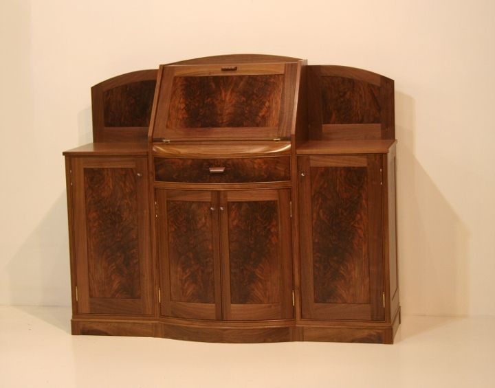 Custom Made Bow Front Claro Liquor Cabinet By Michael