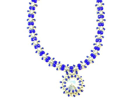 Custom Made Cobalt Blue Necklace With Crystal Pendant