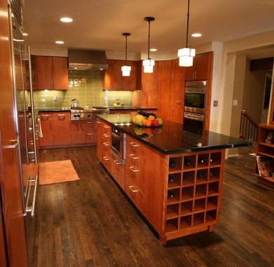 Custom Made Contemporary Mahogany Kitchen And Island