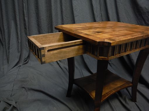 Custom Made Alder Side Tables With Walnut Stain And Carving