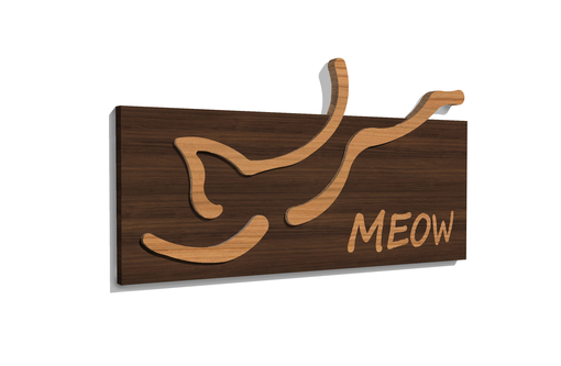 Custom Made Walnut And Cherry Jumping Cat Sign