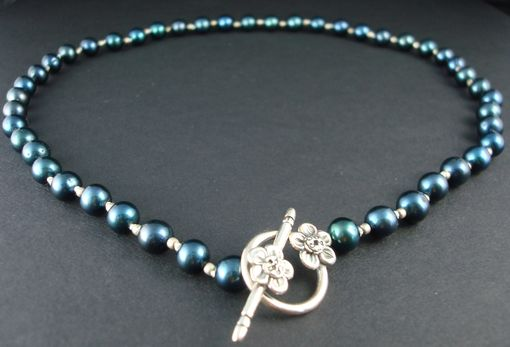 Custom Made Blue-Black Pearl Necklace