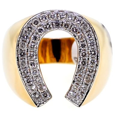 Custom Made 14k Yellow Gold 1.06 Ct Diamond Mens Horseshoe Ring