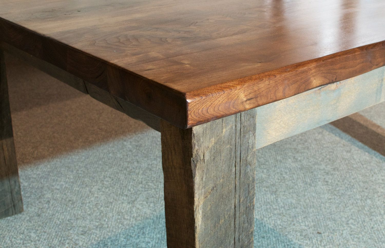 Buy a hand crafted walnut dining table live edge with for Buy reclaimed wood online