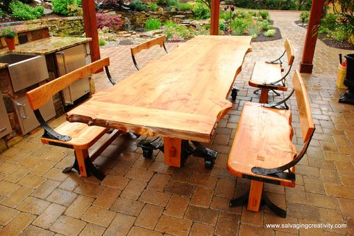 Custom Made Natural Edge Timber And Iron Patio Set