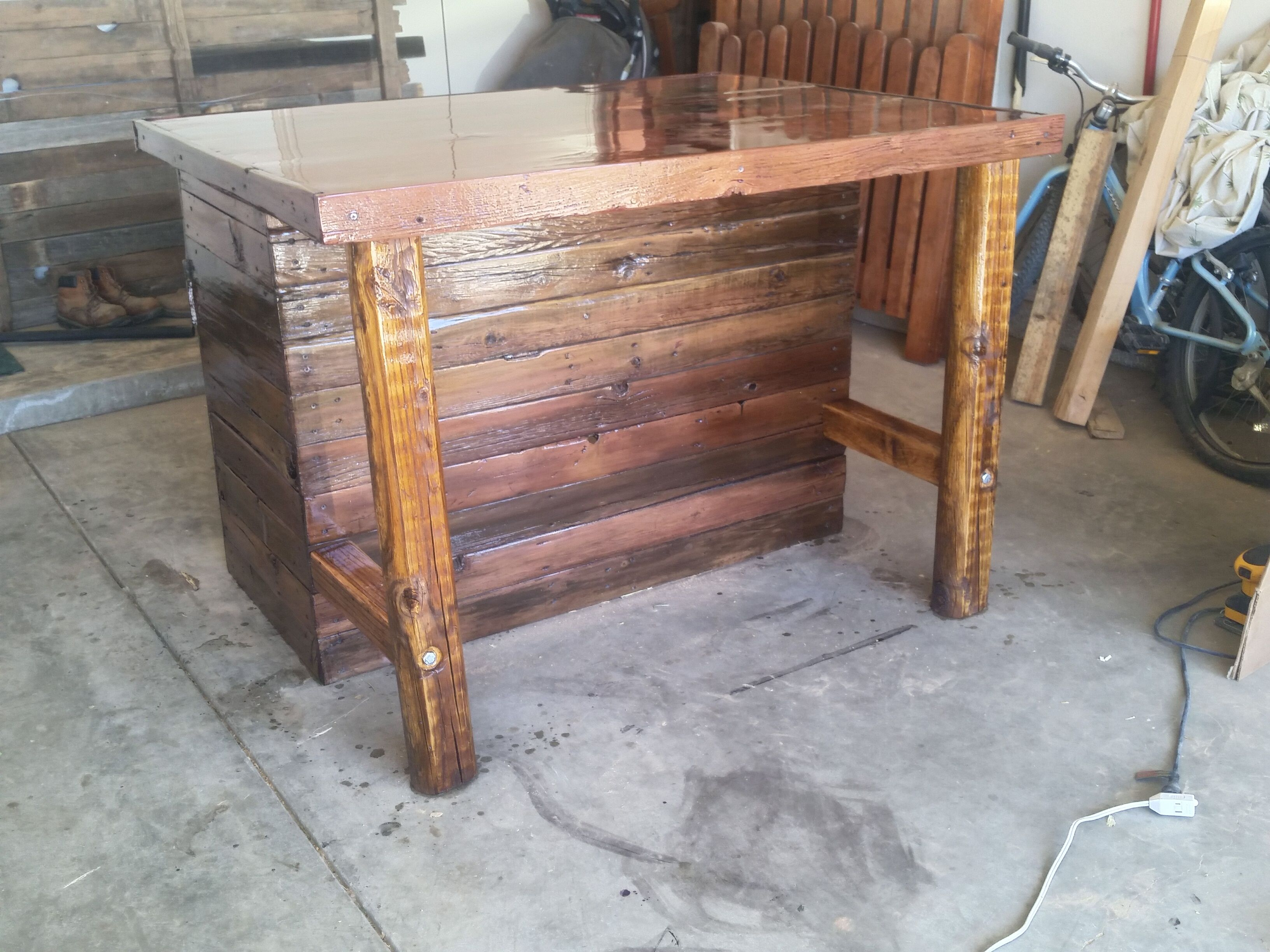 handmade rustic kitchen island or outdoor barcowboy creation