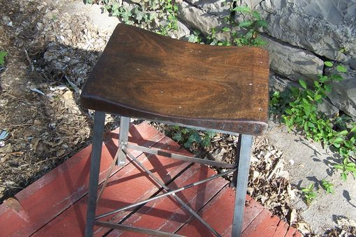 Custom Made Industrial Chic Reclaimed Wood Saddle Stool