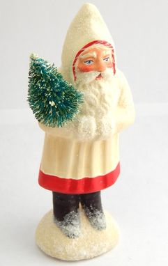 Custom Made Wee Christmas Chalkware Belsnickle Santa From An Antique Chocolate Mold