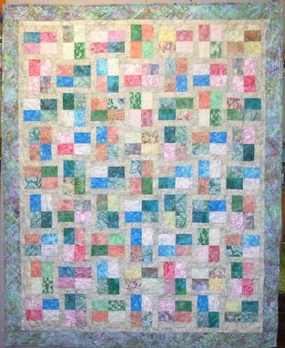 Custom Made Custom Made Modern Batik Patchwork Throw Quilt In Pastels