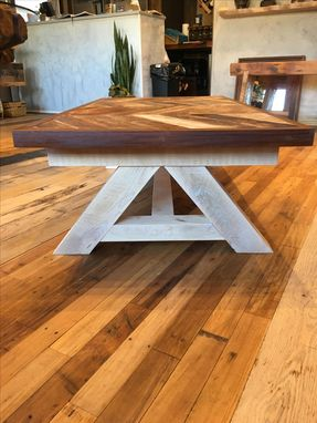 Custom Made Reclaimed Chevron Teak Coffee Table