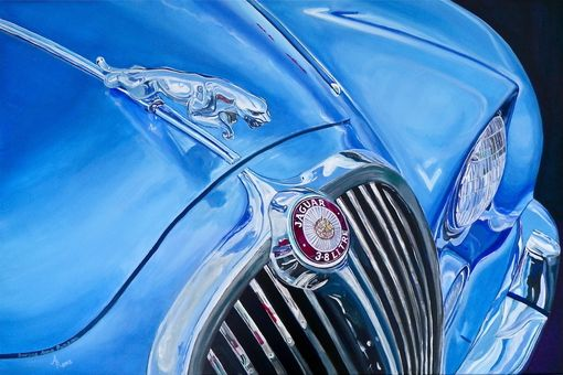 Custom Made Commissioned Car Art, Home Decor,  Wall Art, Custom Made Artwork Blue Jaguar