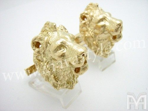 Custom Made 18 Karat Yellow Gold King Lion Cufflinks