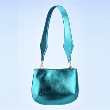 Custom Made Metal Green Sheepskin Shoulder Bag (S)