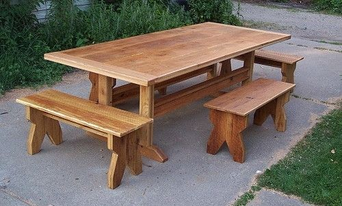 Custom Made Rustic Oak Trestle Table And Benches
