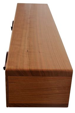 Custom Made 2 Drawer Floating Shelf | Solid Cherry Wood | Hand Carved Bubinga Drawer Pulls