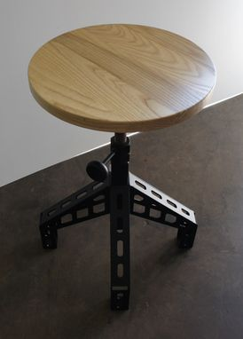Custom Made Bethlehem Steel Stool Without -  Foot Rest