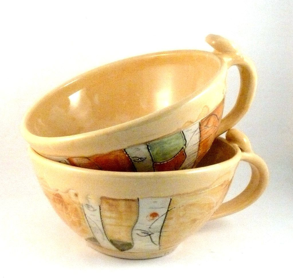 Custom Made Two Soup Mugs / Large Latte Cups Teacups / Bowl With ...