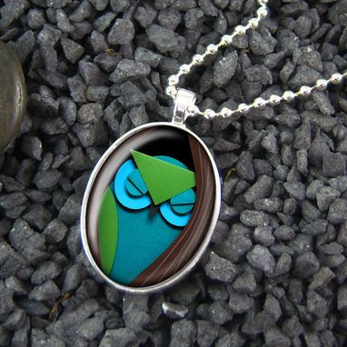 Custom Made Paper Craft Owl & Tree Sterling Silver Oval Necklace 240-Son