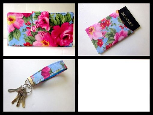 Custom Made Handmade Women Wallet Blue With Hot Pink Flowers Id Clear Pocket