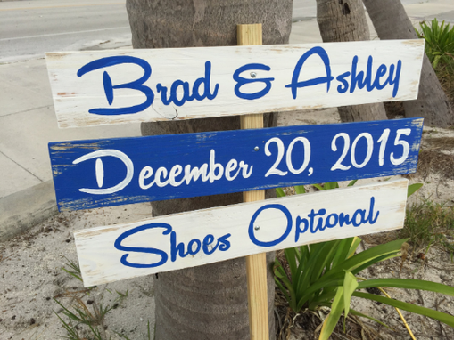 Custom Made Navy Blue Beach Wedding Sign, Rustic Shoes Optional Directional Sign