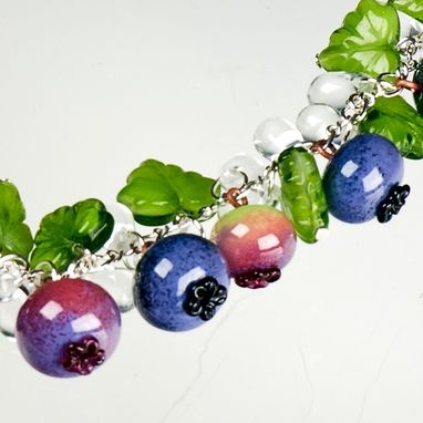 Custom Made Glass Blueberry  Necklace With Leaves And Water Drops