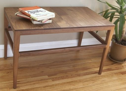 Custom Made Mid Century Danish Modern Coffee Table, End Table, Solid Walnut Wood