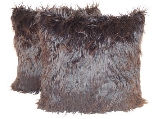 Custom Made Mongolian Black Faux Fur 18 X 18 In. Decorative Pillow - Set Of 2