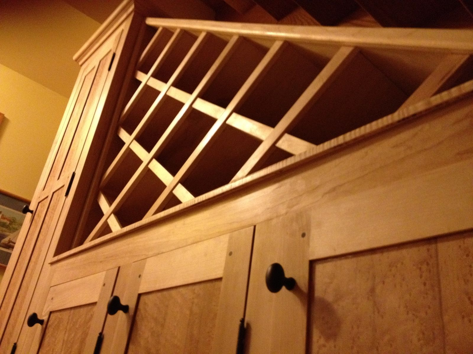 Hand crafted custom handcrafted wall cabinet wine rack for Building a wine rack in a cabinet